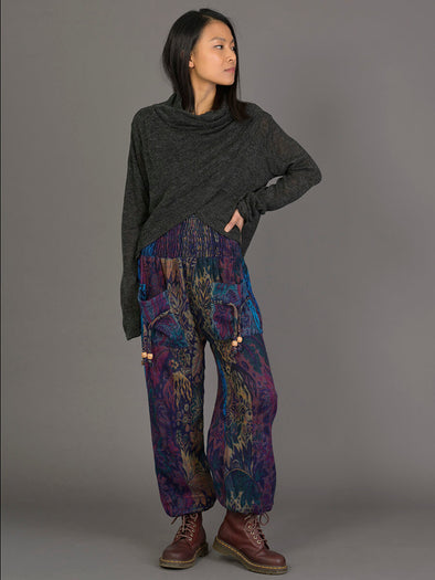 Indian Flowers Warm Harem Pants - High Crotch - Forgotten Tribes