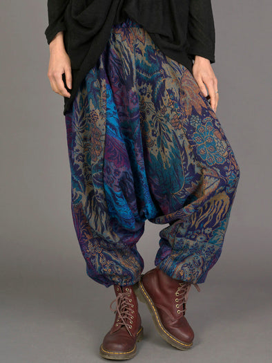 Indian Flowers Warm Harem Pants - Low Crotch - Forgotten Tribes