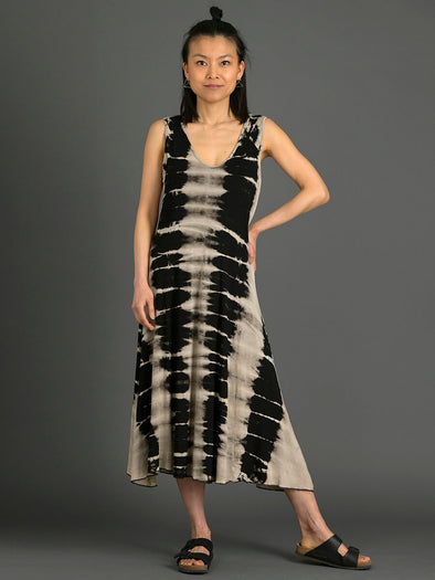 Tie Dye Sleeveless A-Line Dress - Black & Cream - Forgotten Tribes