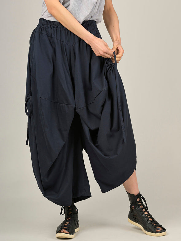Wide Leg Culottes with Adjustable Side Drawstrings - Forgotten Tribes