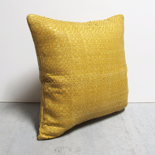 Yellow 23 x 23 Leather Pillow