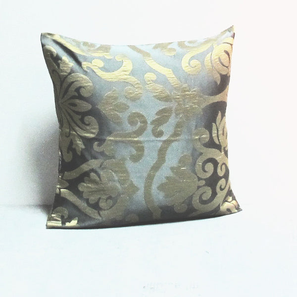 Blue & Gold 16 x 16 Damask Pillow