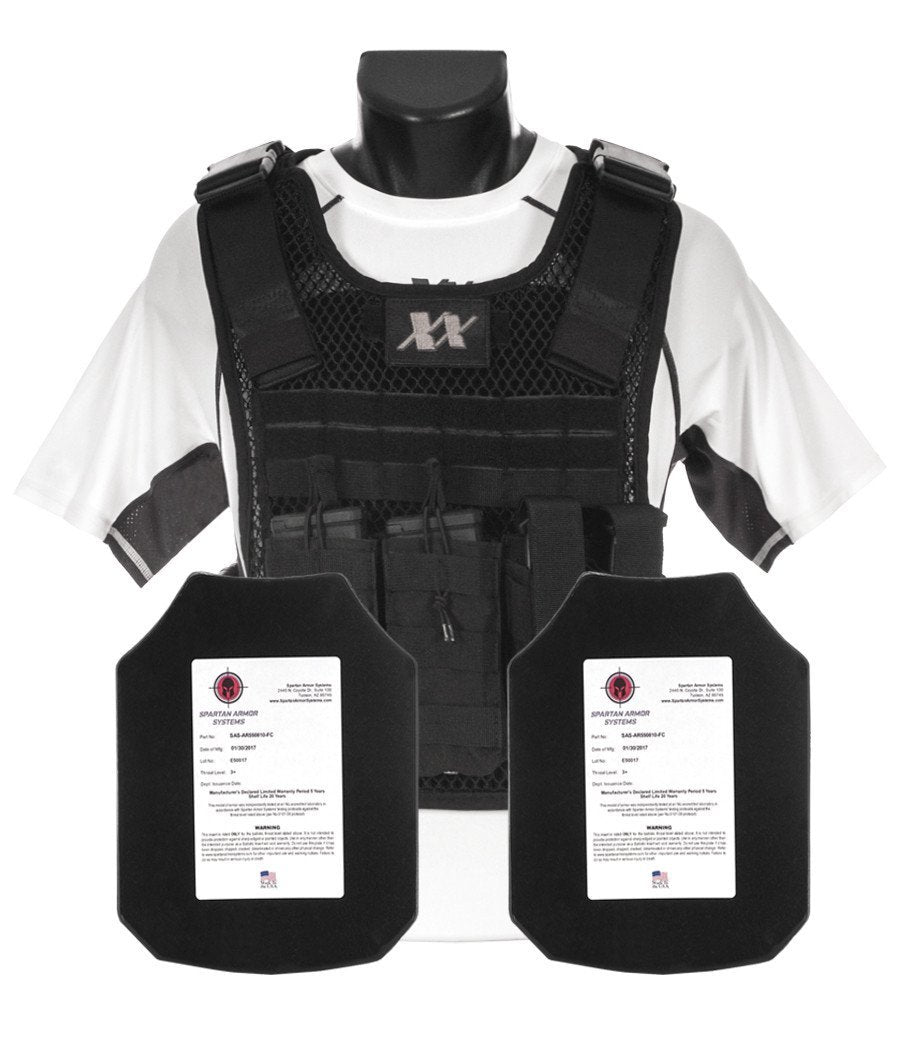 Phantom Plate Carrier with (2) Level III+ AR550 Steel Shooters Cut Plates Maxx-Dri Carrier 221B Resources LLC