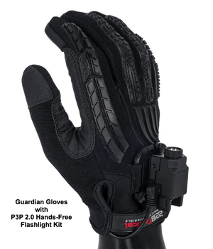 Guardian Gloves - Level 5 Cut Resistant Gloves 221B Resources LLC XS Black Edition with Hands-Free Flashlight Kit