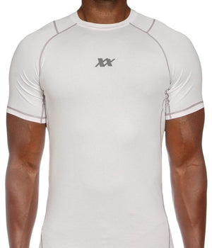 Maxx-Dri Silver Elite T-Shirt - Anti-Bacterial, Anti-Odor, Anti-Rash, UV Protection Apparel 221B Tactical S White/Silver
