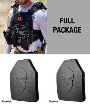 Shadow Plate Carrier with (2) Level III Elaphros Light Weight UHMWPE Body Armor Maxx-Dri Carrier 221B Resources LLC