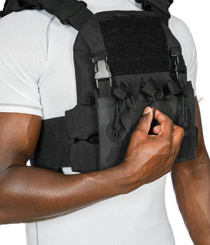 Shadow Plate Carrier with (2) Level IV Shooter Cut Rifle Ceramic Body Armor Plates Maxx-Dri Carrier 221B Resources LLC