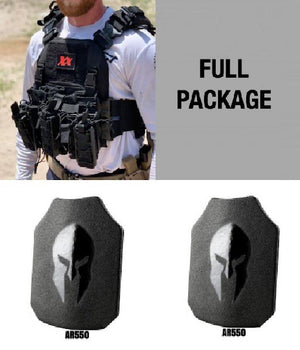 Shadow Plate Carrier with (2) Spartan Level III+ AR550 Steel Body Armor Maxx-Dri Carrier 221B Resources LLC