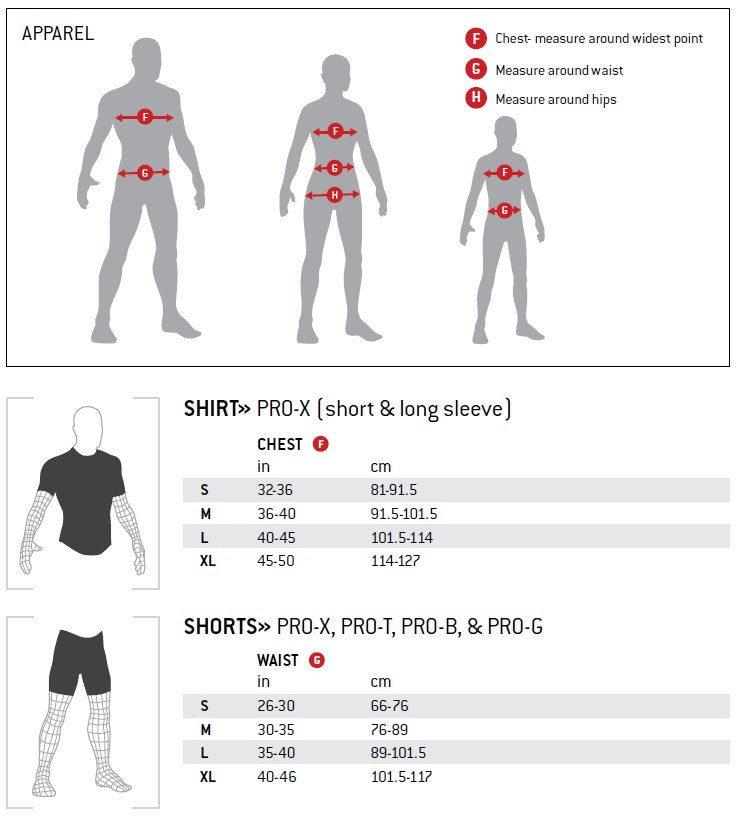 G-Form Body Armor and Padded Shorts Size Chart