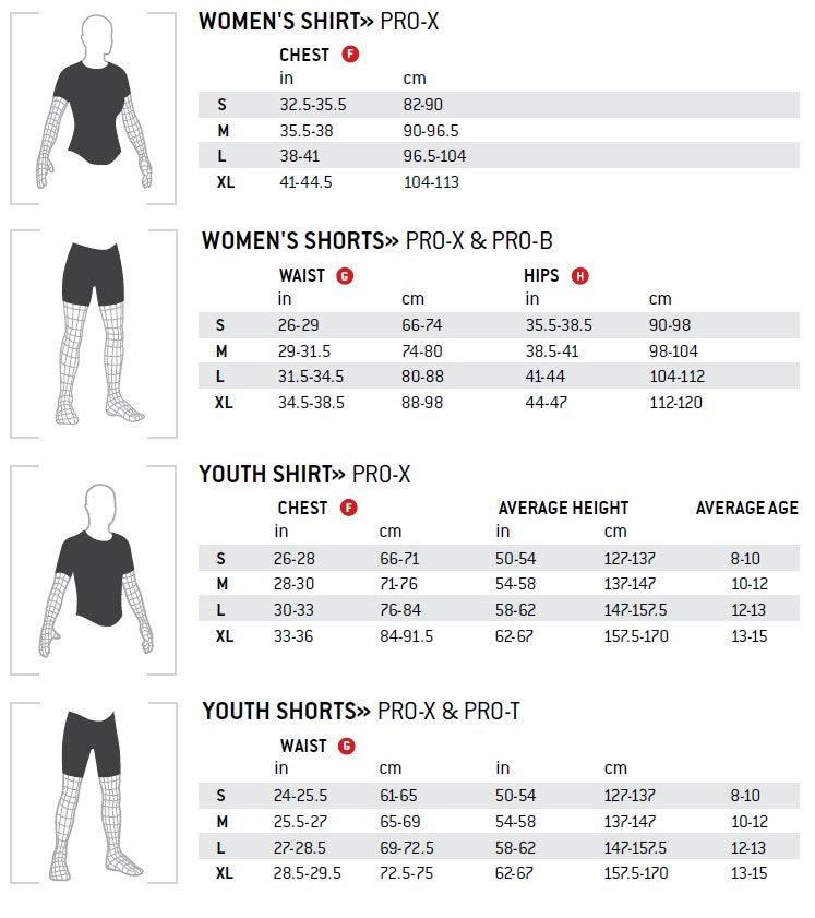 G-Form Women's and Kids Armor and Shorts Size Chart