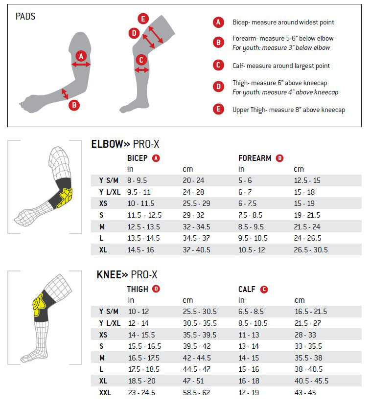 G-Form Knee and Elbow Pads Size Chart