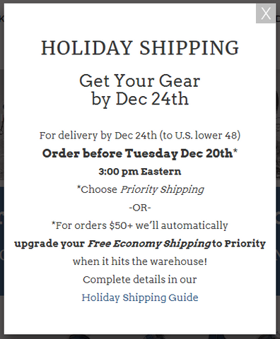 Holiday Shipping Popup
