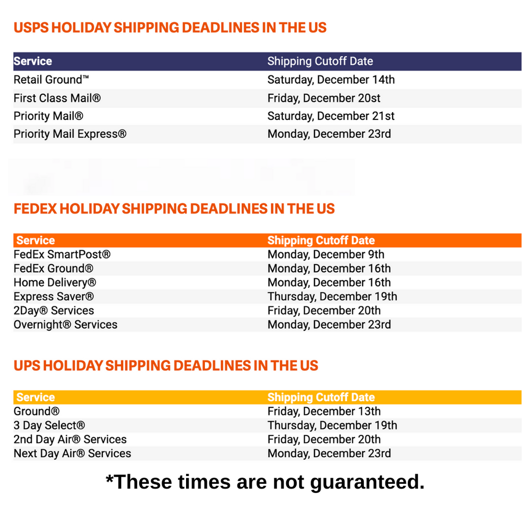 2019 Holiday Shipping Schedule