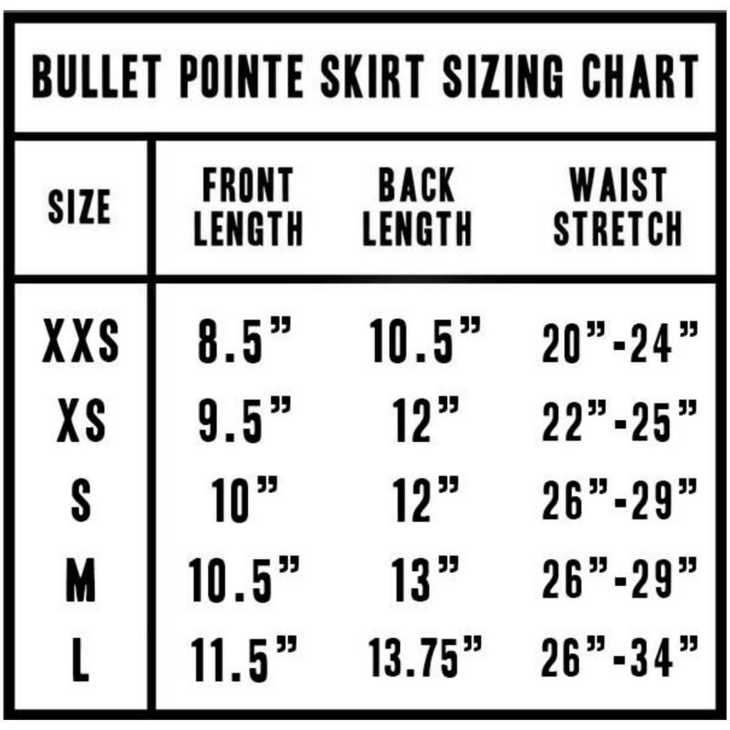 Bullet Pointe Skirt Sizing