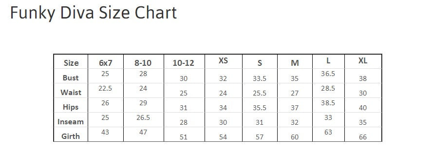 Funky Diva Sizing Chart