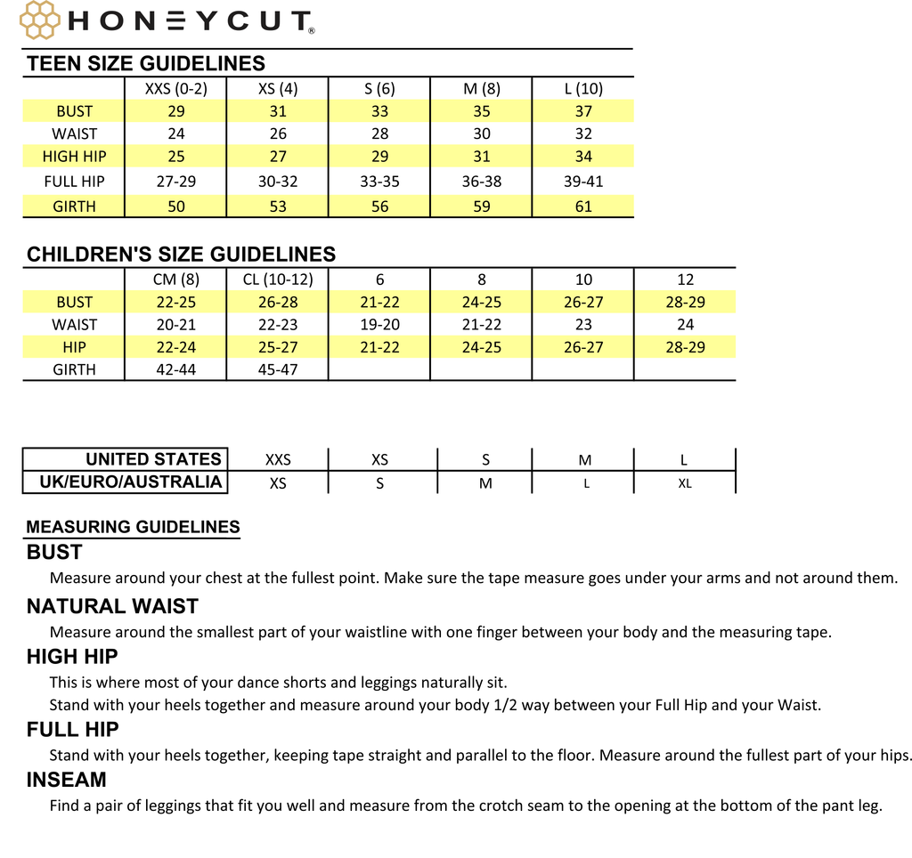 Honeycut Sizing Chart