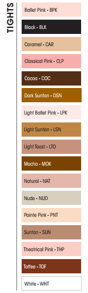 Capezio Tights Color Chart
