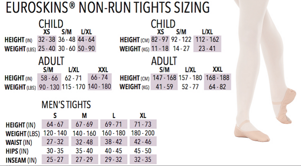 Eurotard Tights Sizing Chart