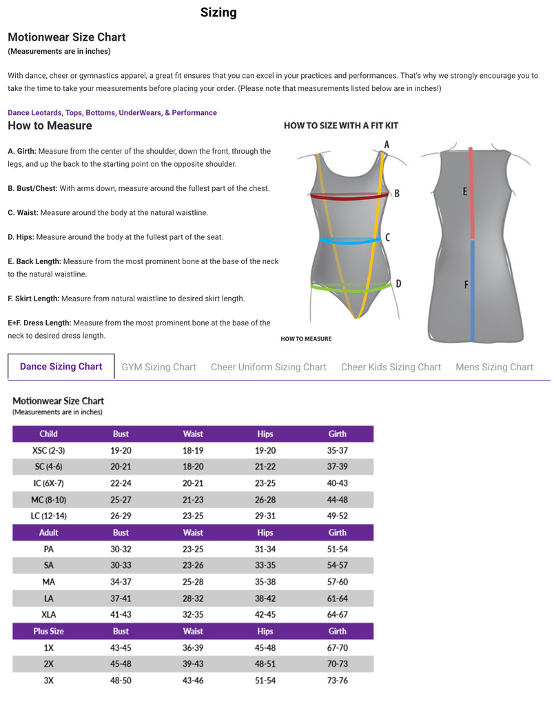 Motionwear Sizing Chart