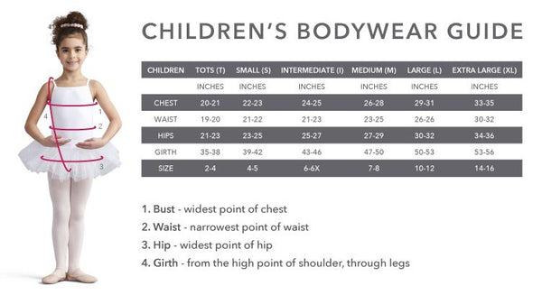 Capezio Girls Bodywear Sizing Chart