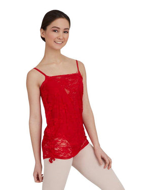 Capezio;Ruched;Pull-On;Skirt;Red;10319