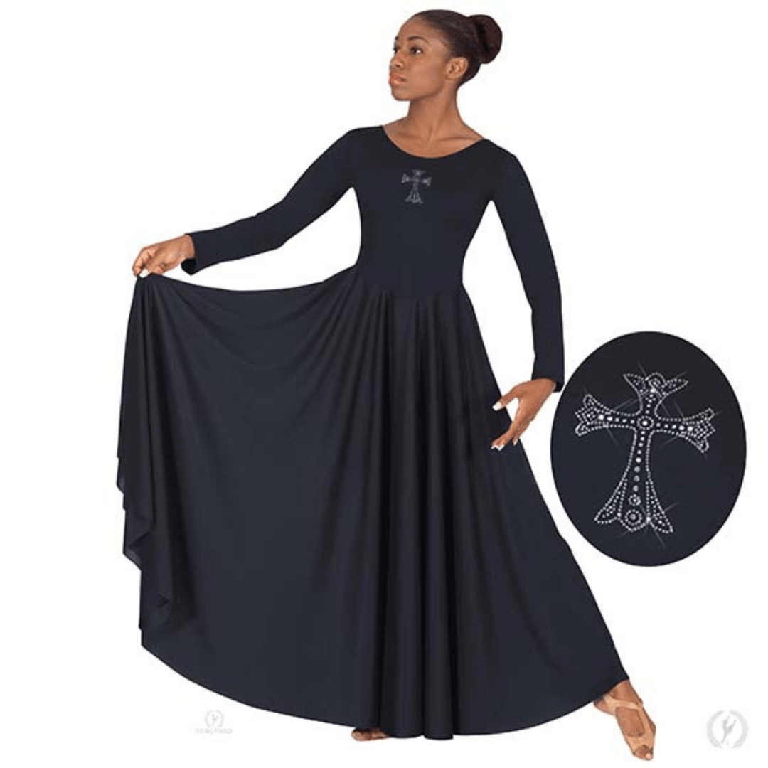 a5d5d51c30e79 11022 - Eurotard Womens Front Lined Long Sleeve Praise Dress with  Rhinestone Royal Cross