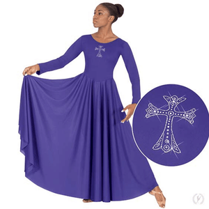 11022 - Eurotard Womens Front Lined Long Sleeve Praise Dress with Rhinestone Royal Cross