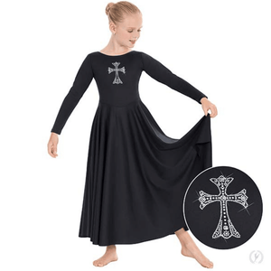 11022c - Eurotard Girls Front Lined Long Sleeve Praise Dress with Rhinestone Royal Cross