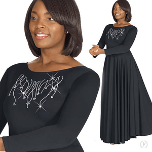 11024 - Eurotard Womens Front Lined Long Sleeve Praise Dress with Rhinestone Reigning Cross