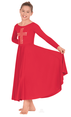 11028C Eurotard Child Gold Cross Dress Red