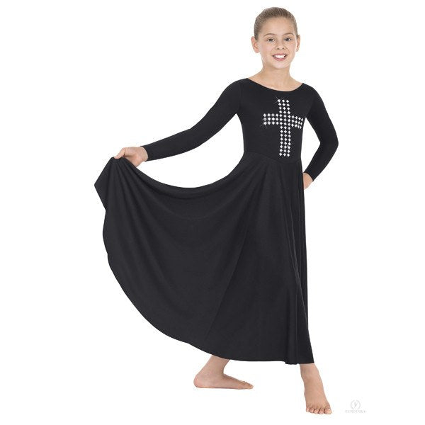 Eurotard 11029 Silver Cross Dress child black