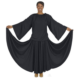 Eurotard 13730 Unisex Angel Sleeve Blouse - Adult black