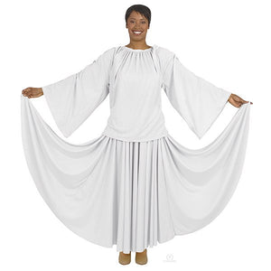 Eurotard 13730 Unisex Angel Sleeve Blouse - Adult white