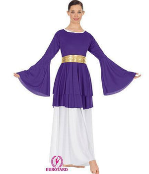 Double Layer Peplum Top With Bell Sleeves Purple