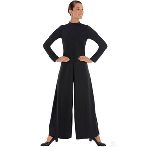 13846 - Eurotard Womens Simplicity Polyester Long Sleeve Wide Leg High Neck Praise Jumpsuit