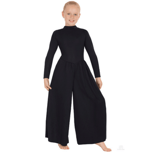 13846c - Eurotard Girls Simplicity Polyester Long Sleeve Wide Leg High Neck Praise Jumpsuit