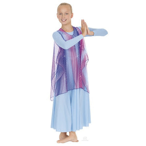 Eurotard 13848C Draped Chiffon Tunic with Gathered Neckline - Child