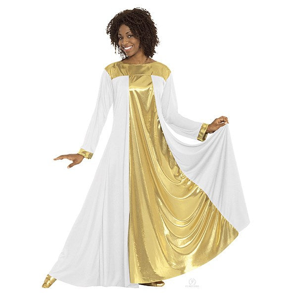Eurotard 14820 Resurrection Dress - Adult white and gold