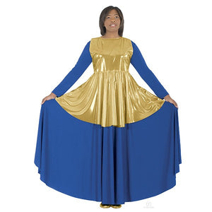 Eurotard 14824 Metallic Adult Peplum Tunic - Adult gold