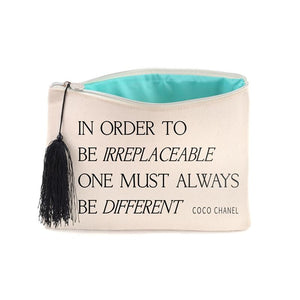 B PLUS PRINTWORKS 404CC52 Canvas Cosmetic Bag - Coco Chanel Quote