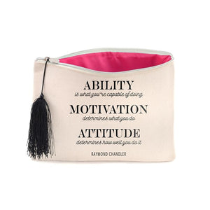 B PLUS PRINTWORKS 404CC53 Canvas Cosmetic Bag - Raymond Chandler Quote