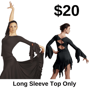 Cut Out Long Sleeve Top by Capezio - Black