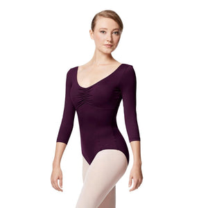 Lulli Pinch Front Long Sleeve with Bra Pockets Dance Leotard Camellia