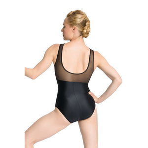 So Danca PL-2043LC Lace Overlay Mesh Back Tank Leotard - Adult