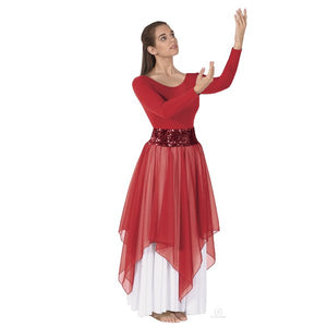 Eurotard 39768 Single Handkerchief Skirt/Top - Adult red