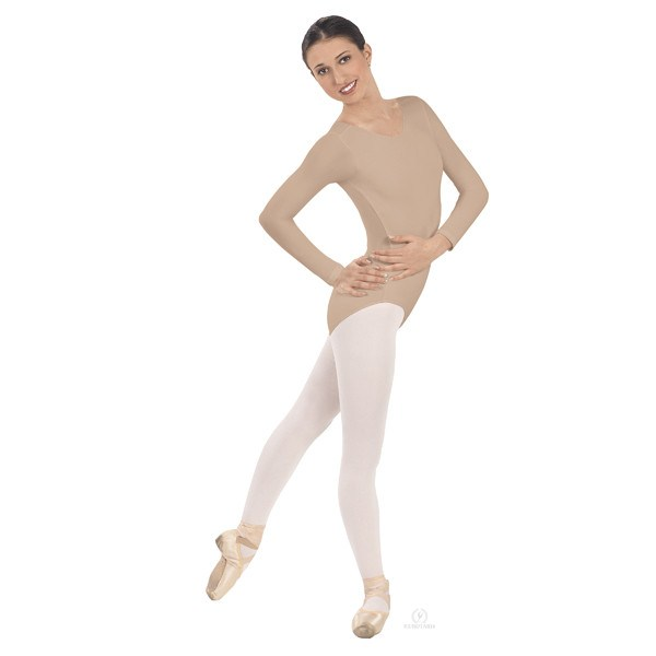 Eurotard 44265 Long Sleeve Microfiber Leotard nude