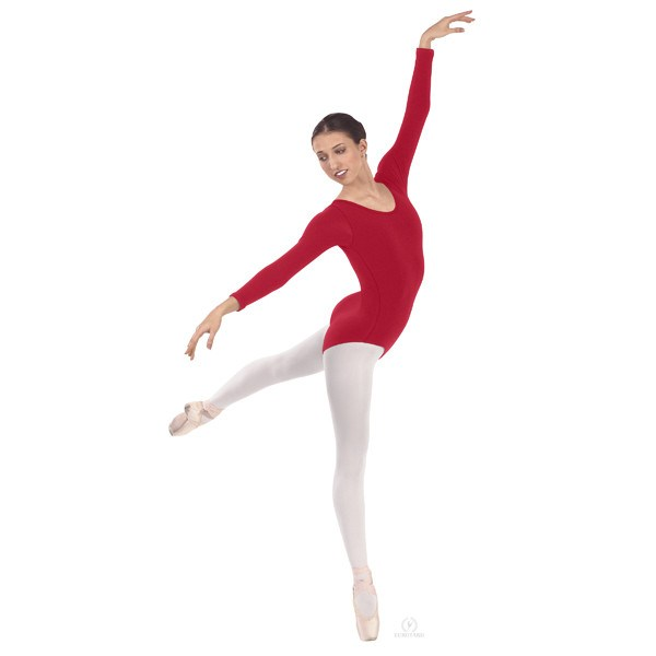 Eurotard 44265 Long Sleeve Microfiber Leotard red