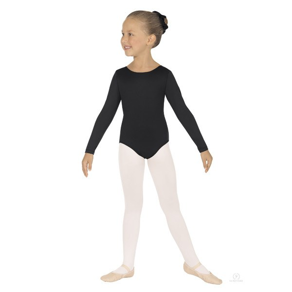 Eurotard 44265C Long Sleeve Microfiber Leotard - Child black