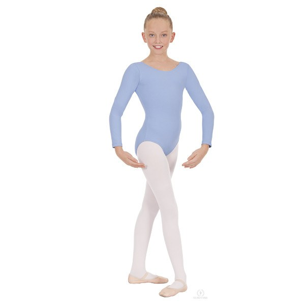 Eurotard 44265C Long Sleeve Microfiber Leotard - Child light blue