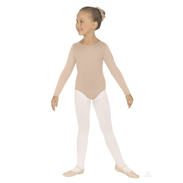 Eurotard 44265C Long Sleeve Microfiber Leotard - Child nude